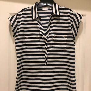 Cap sleeve, navy and white blouse